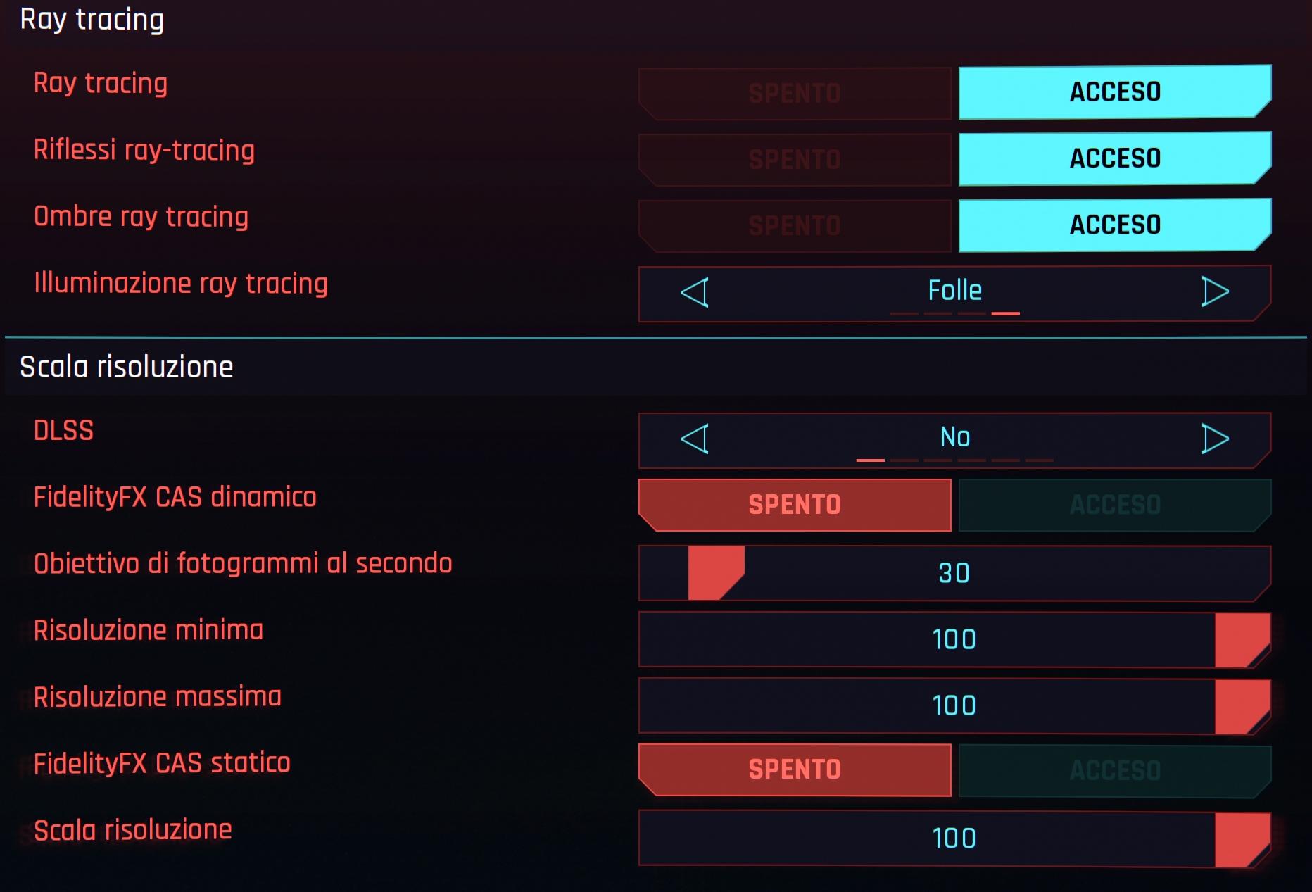 Cyberpunk 2077 opzioni grafiche