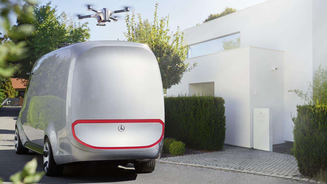 Vision Van: le consegne di domani saranno fatte con furgone elettrico con droni sul tetto secondo Mercedes