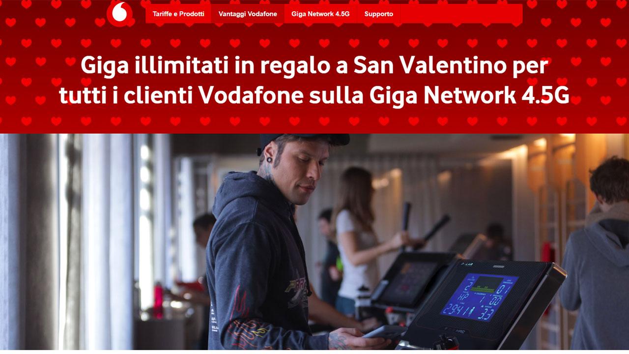 Vodafone: a San Valentino Giga illimitati per tutto il giorno. Anche sotto rete 4.5G. Come averli