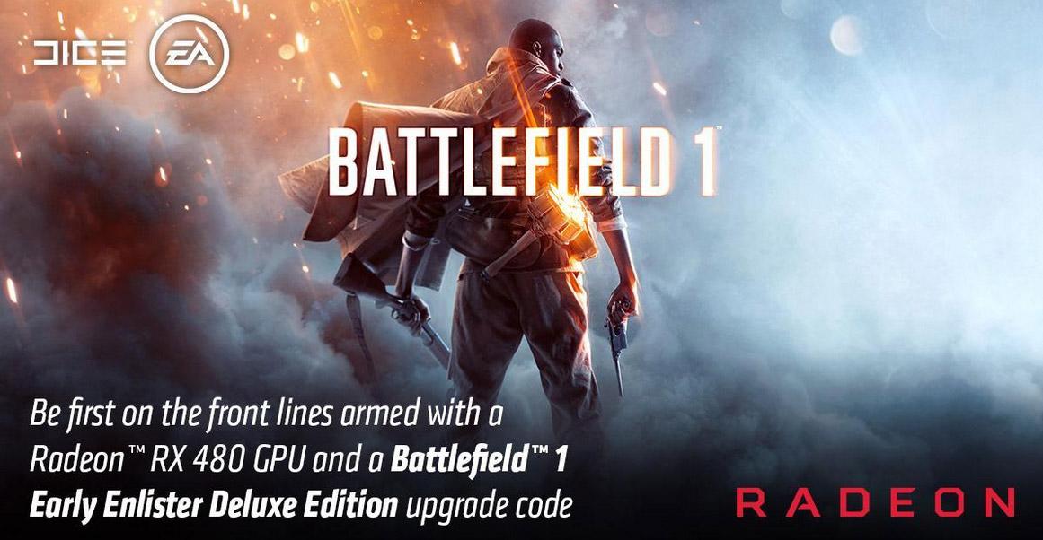 Un codice upgrade per Battlefield 1 con le schede AMD Radeon RX 480