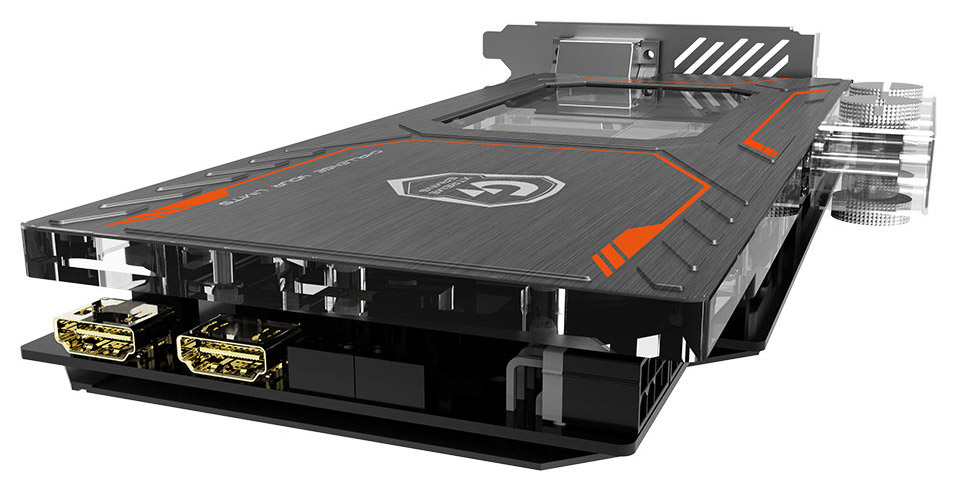 Una scheda GeForce GTX 1080 Extreme da Gigabyte, grazie al watercooling