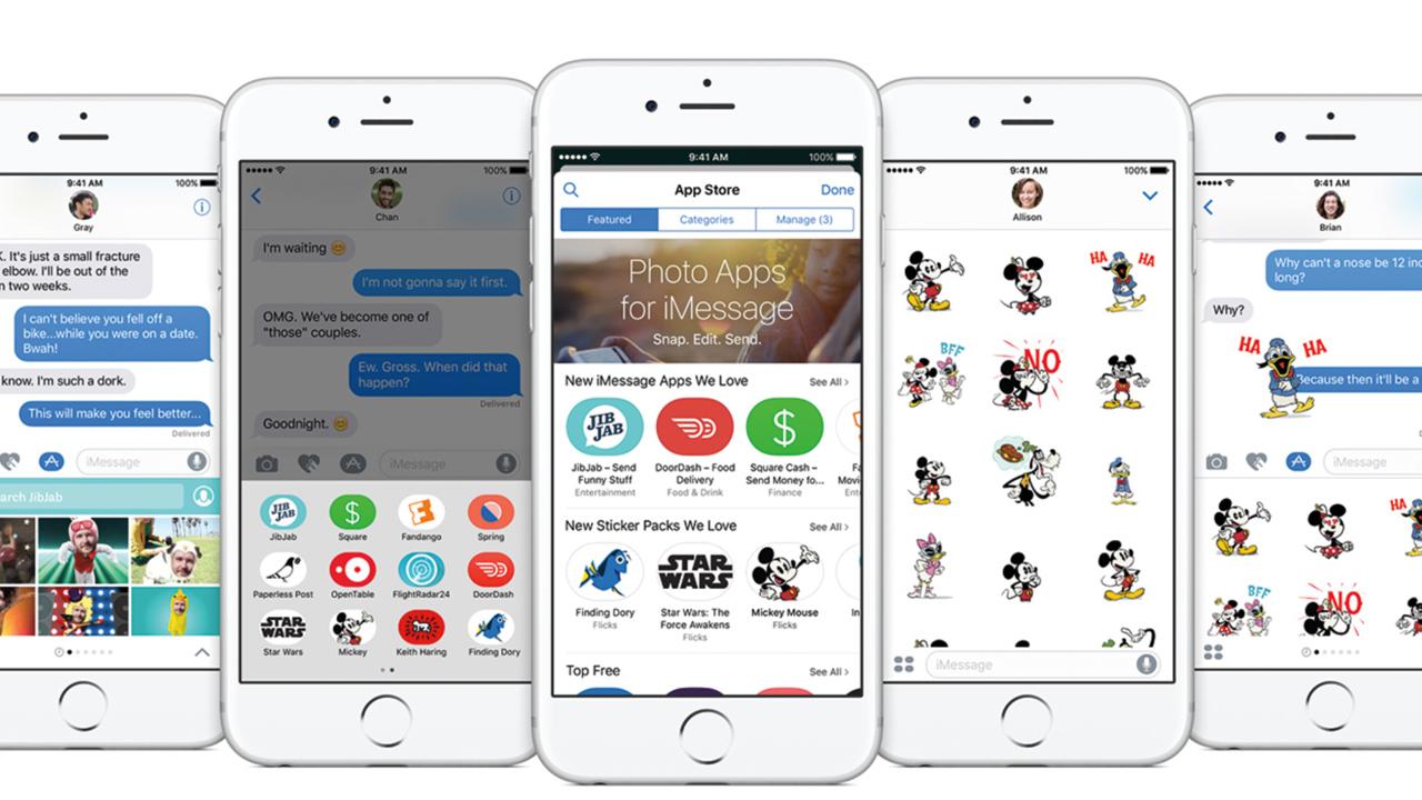 Apple lancia iMessage Store: app, giochi e adesivi per l'app messaggi di iOS 10