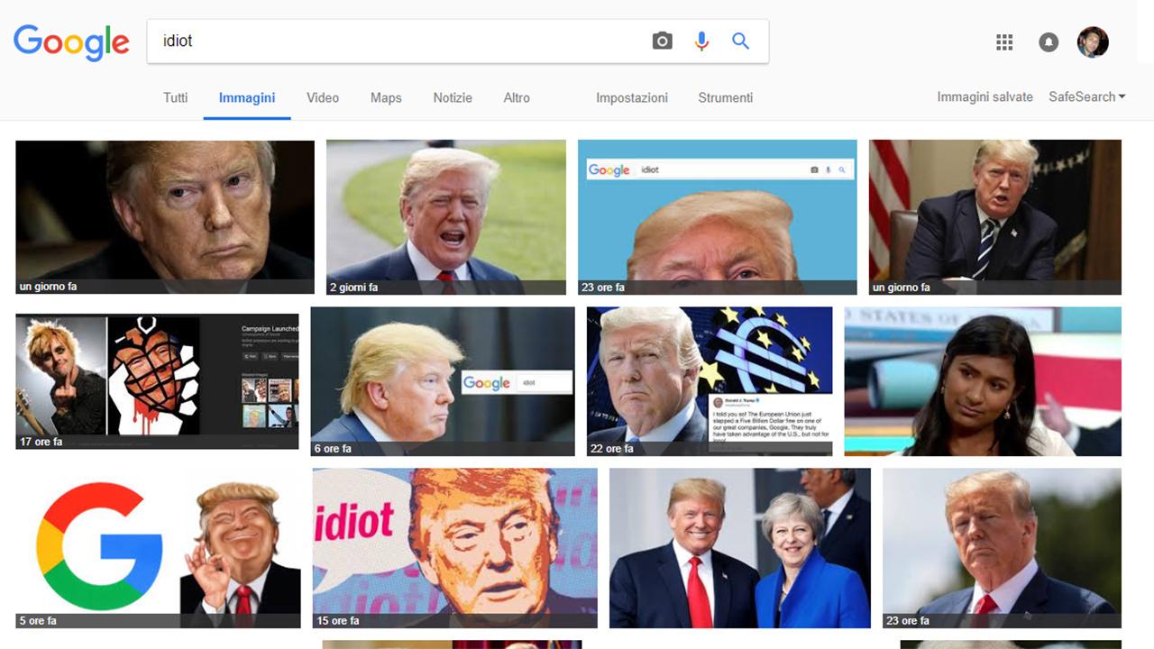 Se cerchi 'idiot' su Google spunta Trump: ecco come è stato ingannato l'algoritmo