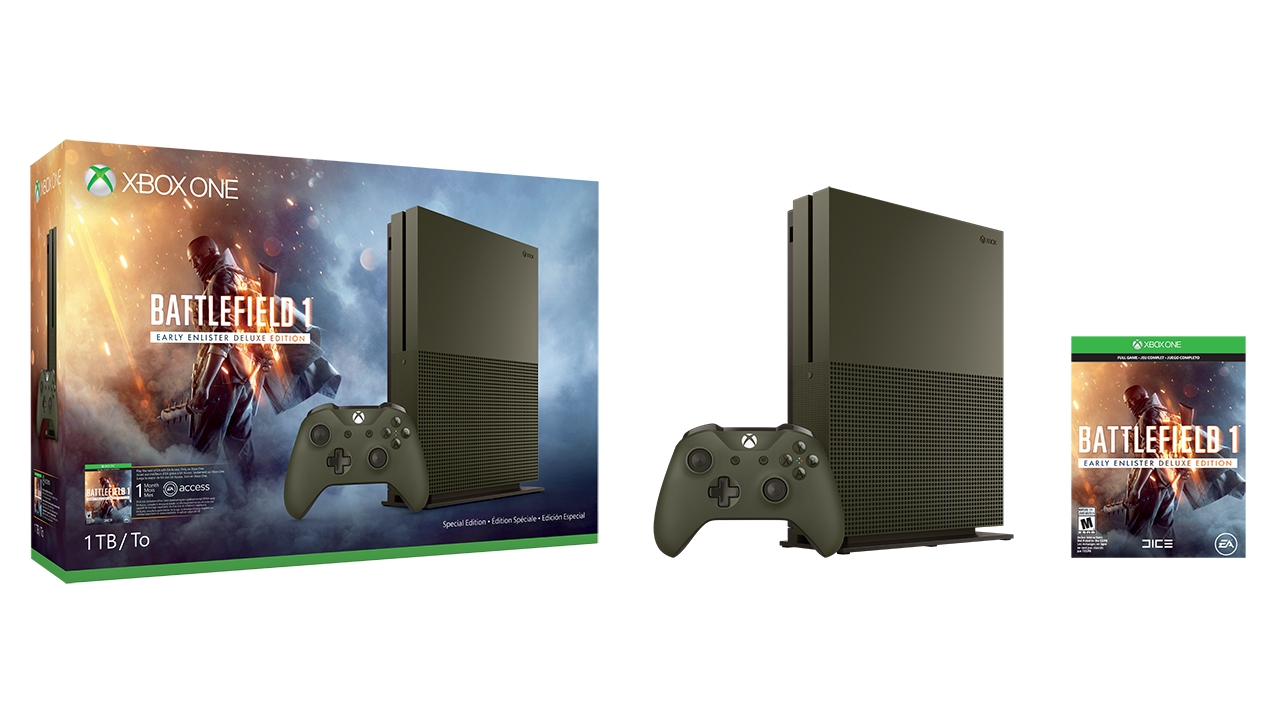 Microsoft annuncia bundle con Battlefield 1 e Xbox One S in verde militare