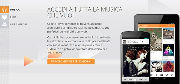 Google Play Music All Access disponibile in Italia