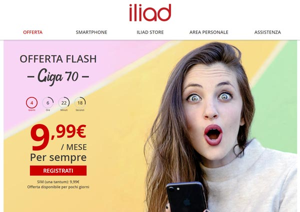 Incredibile offerta flash di Iliad: 70GB, minuti ed SMS illimitati a 9,99€