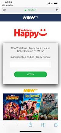 Vodafone happy regala 4 mesi di cinema su nowtv ecco come for Regalo mobile tv