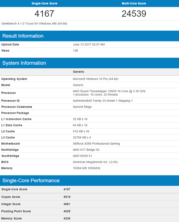 AMD Ryzen Threadripper 1950X GeekBench