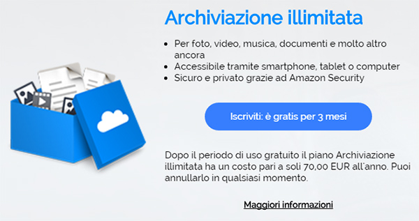 CLOUD-Amazon: piano Archiviazione Illimitata online in Italia