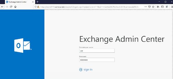 Microsoft Exchange Admin panel