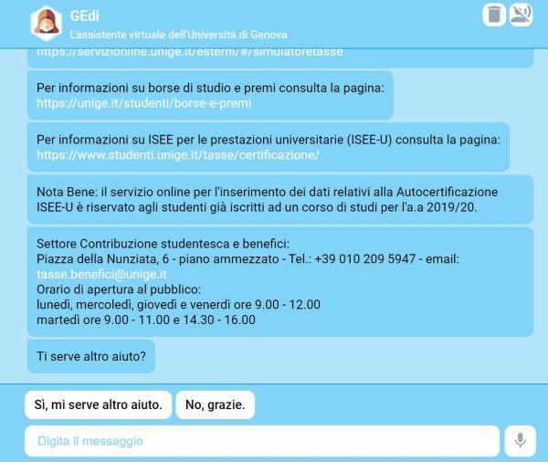 GEdi chatbot università di genova