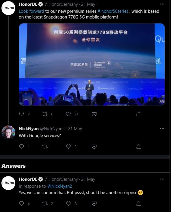 Honor50 tweet