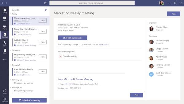 Microsoft Teams: calendario delle riunioni virtuali