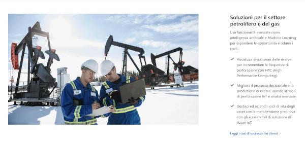 Microsoft per l'industria del petrolio