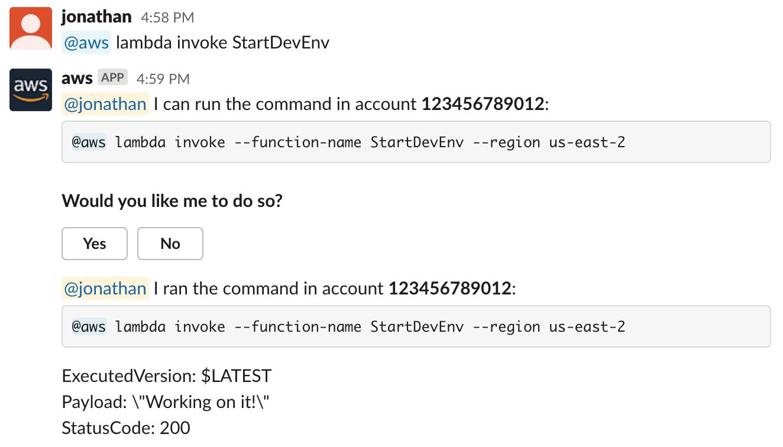 AWS Chatbot su Slack