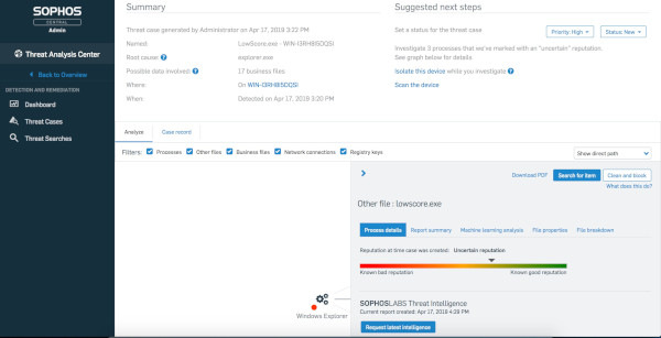 Sophos Endpoint Detection and Response per Intercept X per Server