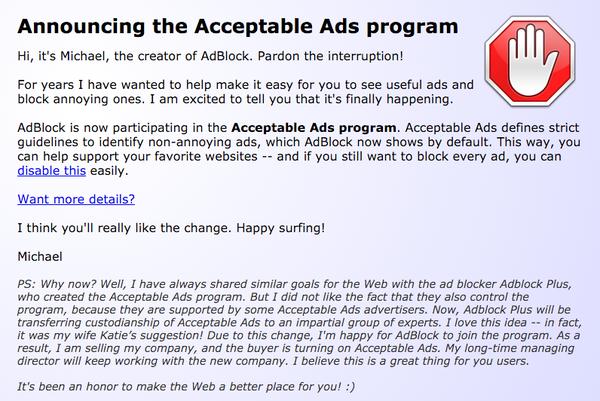 Adblock Plus ora vende pubblicità