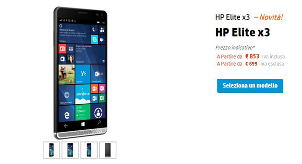 HP Elite X3 con Windows 10 Mobile in Italia a settembre
