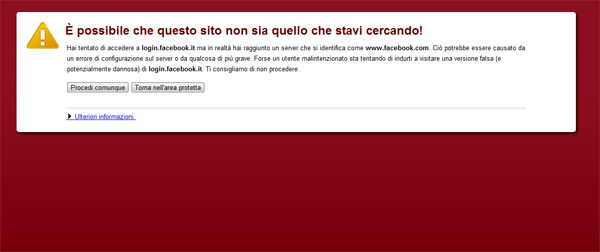 Google Chrome messaggio errore