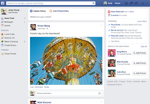Facebook nuova interfaccia