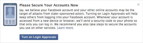 Facebook, avviso di attacco finanziato dai governi