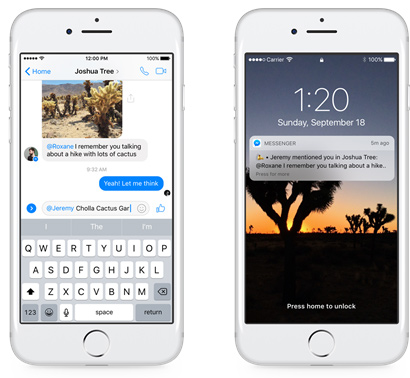 Facebook Messenger Menzioni