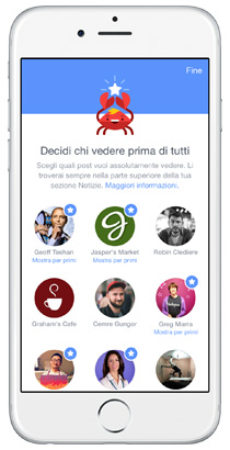 Facebook, nuove preferenze