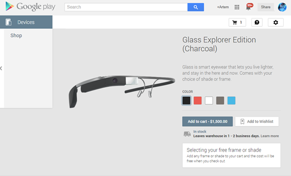 Google Glass su Play Devices