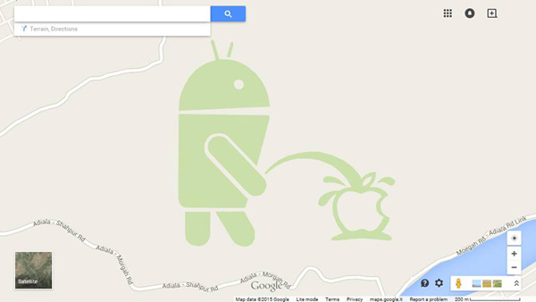 Android urinating on an Apple