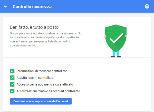 Google Controllo sicurezza