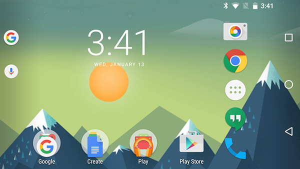 Google Now Launcher, modalità landscape