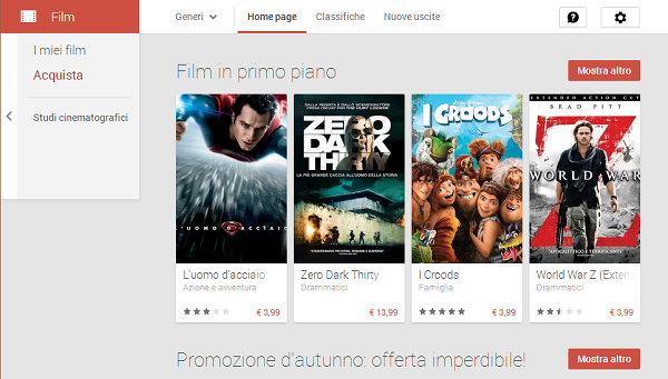 Google Play Film, Italia
