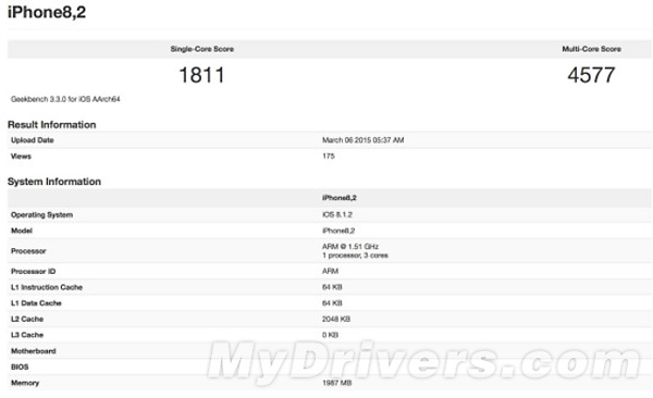 iPhone 6s, primi benchmark su GeekBench