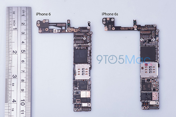 iPhone 6s, scheda logica a confronto con iPhone 6