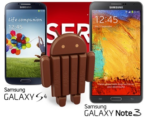 Samsung Galaxy S4, Note 3, Android 4.4 KitKat