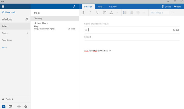 Windows Mail su Windows 10 TP 10051