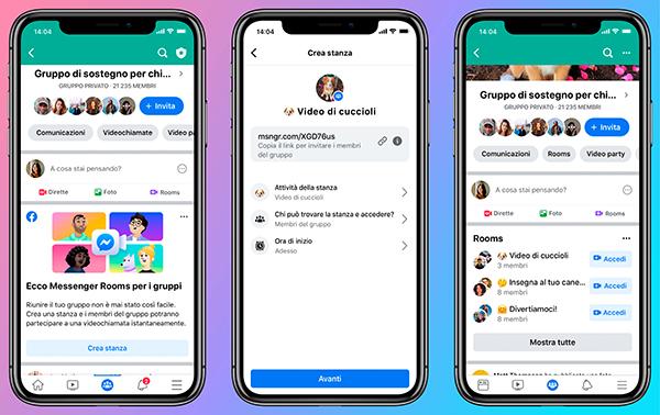 Coronavirus, Facebook presenta Messenger Rooms e altre novità