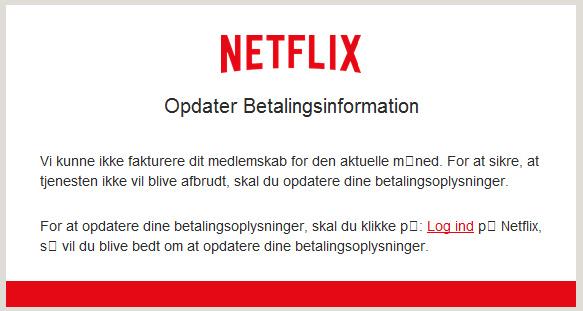 Netflix, esempio di e-mail di scam