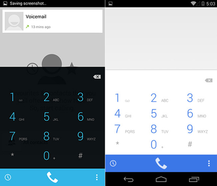 Android 4.4.3, nuovo dialer