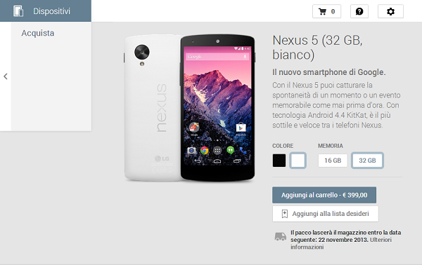 Nexus 5, Google Play Dispositivi
