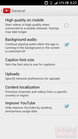 YouTube app Android