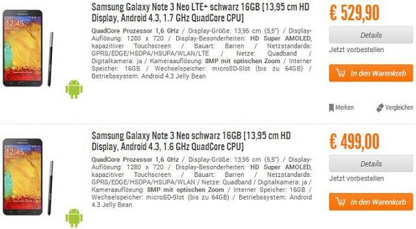 Galaxy Note 3 Neo, prezzi