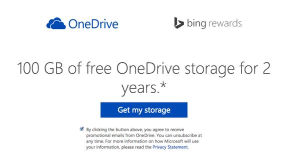 OneDrive, promozione 100Gb gratis