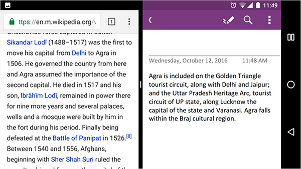 OneNote per Android, supporto al multi-window