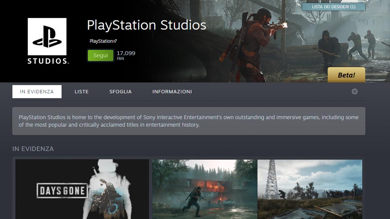 La pagina PlayStation Studios su Steam