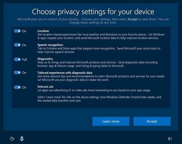 Windows 10, controlli per la sicurezza
