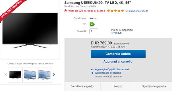 TV Samsung UE55KU6400 su eBay