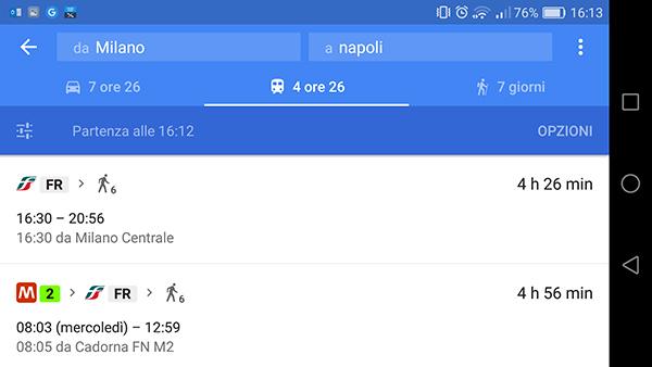 Google Maps con orari e treni di Trenitalia