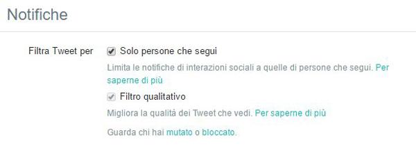 Twitter notifiche