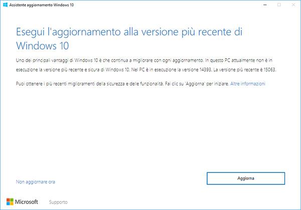 e installare windows 10 creators update con assistente aggiornamento